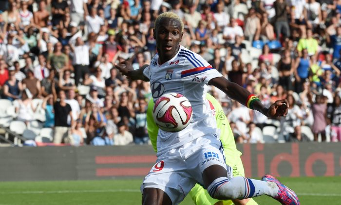 Lyon's French forward Mohamed Yattara kicks the ball during the French L1 football match between Olympique Lyonnais and Stade Rennais FC on August 10, 2014 at the Gerland stadium in Lyon, southeastern France. (PHILIPPE DESMAZES/AFP/Getty Images)