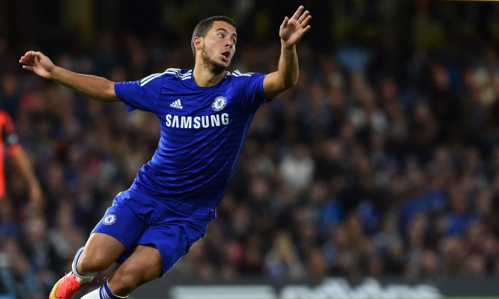 Chelsea's Belgian midfielder Eden Hazard chases the ball during the pre-season football friendly match between Chelsea and Real Sociedad at Stamford Bridge in London on August 12, 2014. (BEN STANSALL/AFP/Getty Images)