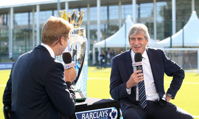 Manager of Manchester City Manuel Pellegrini is interviewed by Sky Sports during the Official Premier League Season Launch Media Event at Capital City Academy on August 13, 2014 in London, England. (Photo by Jan Kruger/Getty Images)