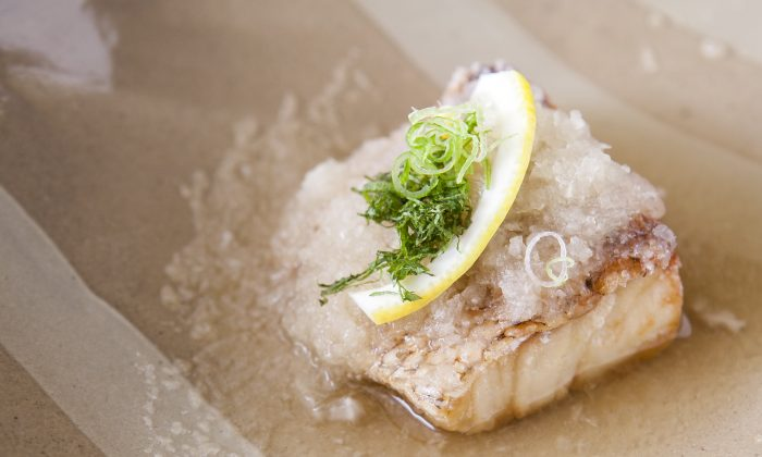 Red snapper, with grated daikon radish, in a sauce of mirin, white soy sauce, and bonito broth. (Samira Bouaou/Epoch Times)