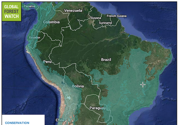 Conservation biodiversity hotspots in South America. Data from a 2011 assessment by Conservation International accessed via the Global Forest Watch.