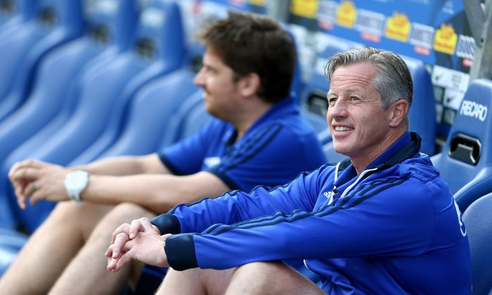 Head coach Jens Keller of Schalke sits on the bench prior to the pre-season friendly match between VfL Bochum and FC Schalke 04 at Rewirpower Stadium on August 5, 2014 in Bochum, Germany. (Photo by Christof Koepsel/Bongarts/Getty Images)