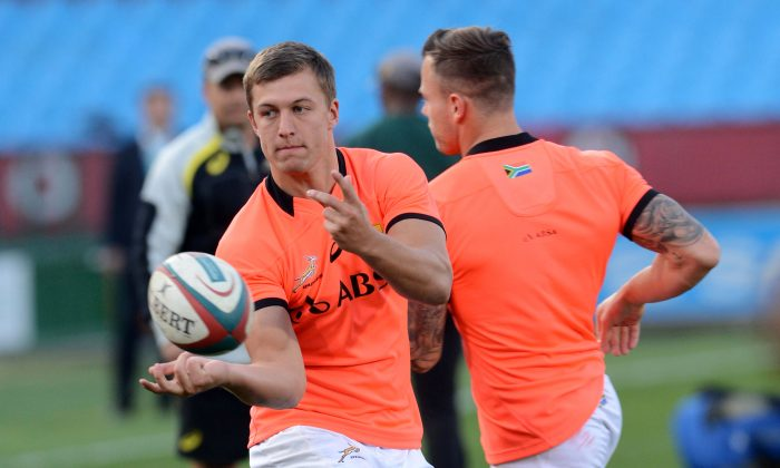 Handre Pollard during the Springboks Captains Run ahead of their Rugby Championship match against Argentina at Loftus Versfeld on August 15, 2014 in Pretoria, South Africa. (Lee Warren/Gallo Images/Getty Images)