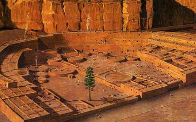 Digital reconstruction of the Chaco Canyon. (Saravask via wikimedia commons)