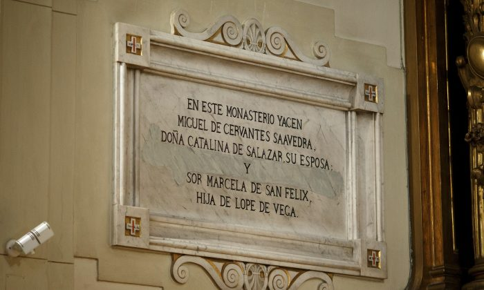A plaque on the wall reads 'Miguel de Cervantes Saavedra, his wife Mrs Catalina de Salazar and Lope de Vega's daughter Sor Marcela de San Felix lie in this monastery, Madrid, Spain. (Pablo Blazquez Dominguez/Getty Images)