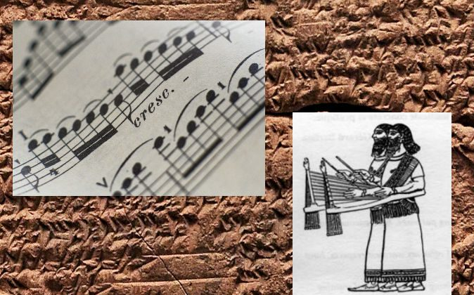 Right: Right: An example of the type of instrument that would have been used to play the Hurrian hymn, a rendering of an ancient Babylonian santur. (Wikimedia Commons) Left: Sheet music (Thinkstock) Background: Cuneiform tablet (Shutterstock*)