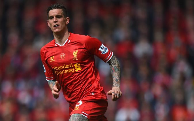 Daniel Agger of Liverpool in action during the Barclays Premier League match between Liverpool and Newcastle United at Anfield on May 11, 2014 in Liverpool, England. (Photo by Laurence Griffiths/Getty Images)