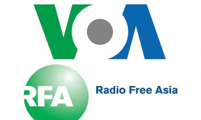 Screenshot of the Voice of America (VOA) and the Radio Free Asia (RFA) logos. (Epoch Times)