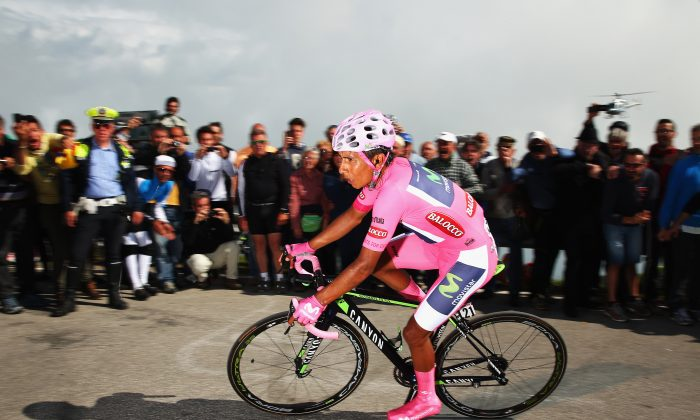 Nairo Quintana of Movistar on his way to winning the nineteenth stage of the 2014 Giro d'Italia, a 27km Individual Time Trial. (Bryn Lennon—Velo/Getty Images)