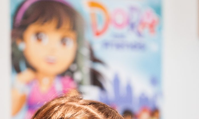"Fátima Ptacek, the voice of Dora from TV series ""Dora the Explorer,"" attends a screening of a spin-off show ""Dora and Friends: Into the City,"" at Children's Museum of Manhattan, in New York, Aug. 10, 2014. (Petr Svab/Epoch Times)"