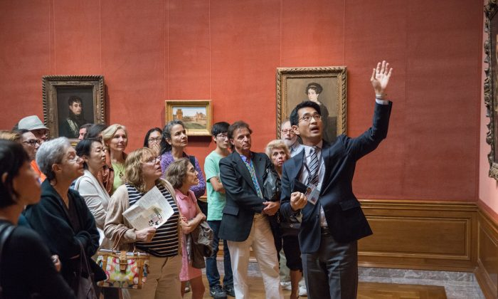 Curatorial assistant Jeongho Park gives a gallery talk about the Men in Armor exhibit at the Frick Collection, Aug. 15. (Lucas Chilczuk)