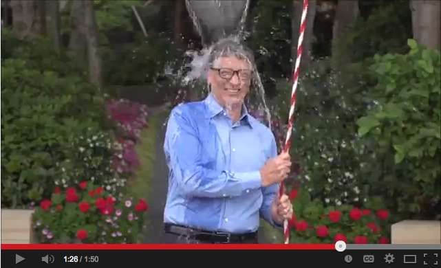 Screenshot of Bill Gates participating in the Ice Bucket Challenge to raise awareness for ALS. (Youtube)