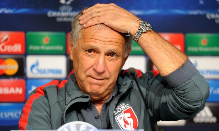 Lille's French coach Rene Girard gives a press conference at the Pierre Mauroy Stadium in Villeneuve d'Ascq, northern France, on August 19, 2014 on the eve of his team's UEFA Europa League play-off round football match against FC Porto. (PHILIPPE HUGUEN/AFP/Getty Images)
