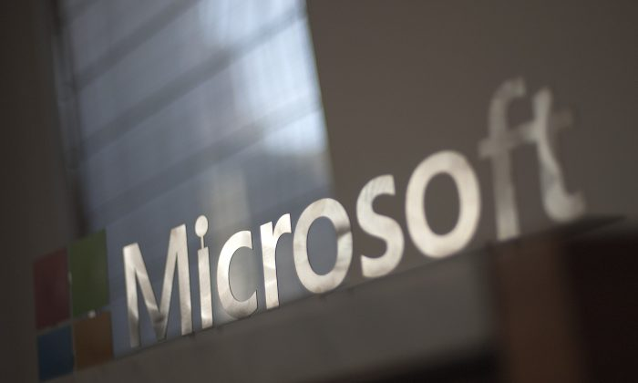 The Microsoft logo is seen before the start of a media event in San Francisco, California on Thursday, March 27, 2014. (Josh Edelson/AFP/Getty Images)