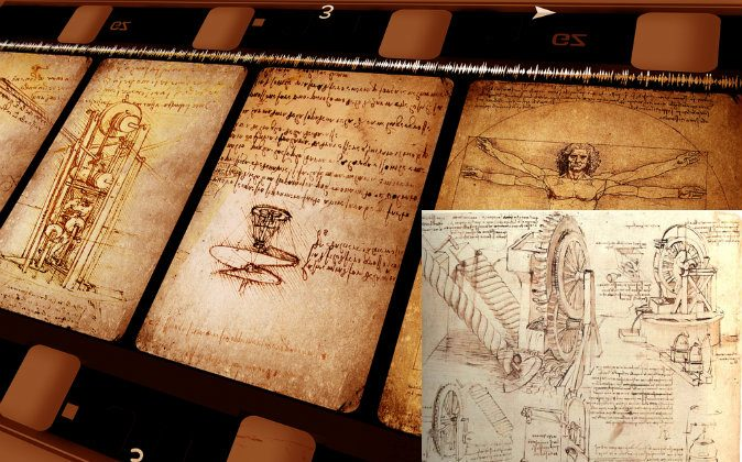 Background: Vintage art showing drawings by Leonardo Da Vinci. (Shutterstock*) Bottom right: Drawing of Leonardo Da Vinci's water lifting devices. (Sailko via wikimedia commons)
