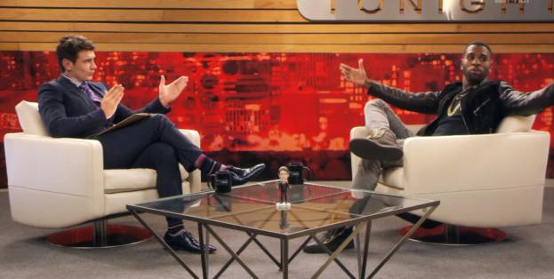 Screen capture of the MTV VMAs promo video showing James Franco as Dave Skylark interviewing Jason Derulo. (MTV)