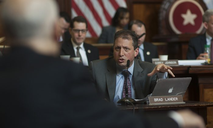 Councilmember Brad Lander at a stated City Council meeting. (William Alatriste)