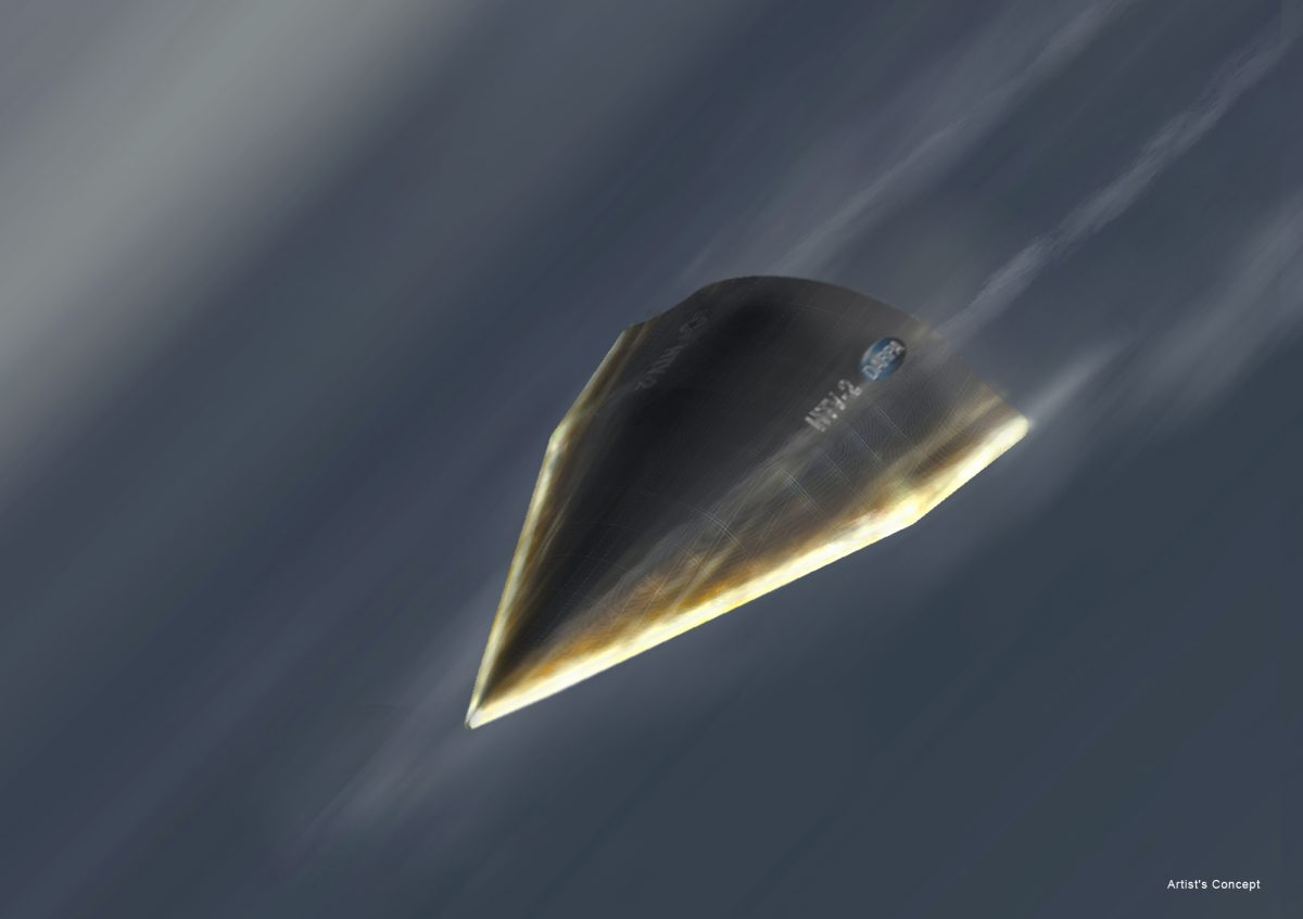 An artistic rendition of DARPA's Hypersonic Technology Vehicle (HTV-2). China is also researching hypersonic weapons. (DARPA)