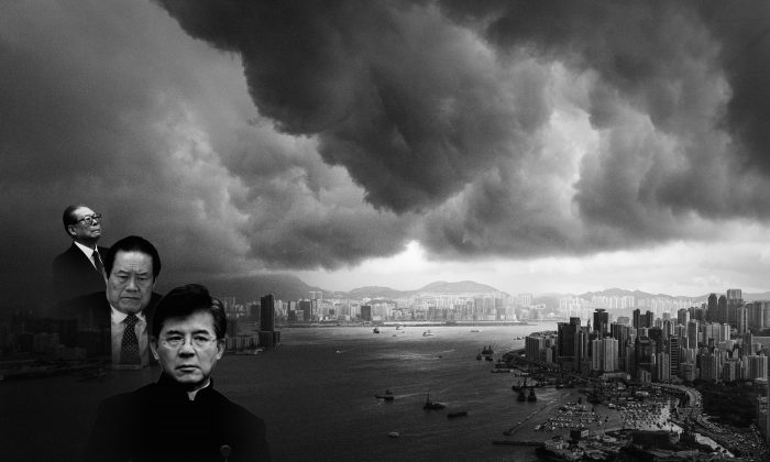 Epoch Times composition photo of former Party leader Jiang Zemin and two supporters. In the foreground from L to R: Jiang, Zhou Yongkang, and Lo Hong-Shui. In the background, clouds build up over the Victoria harbor before a storm in Hong Kong on April 30, 2013. (Philippe Lopez/AFP/Getty Images)