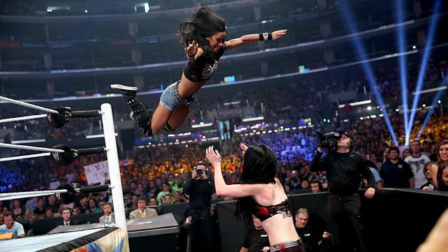 AJ Lee flies at Paige during the 2014 SummerSlam. (WWE)