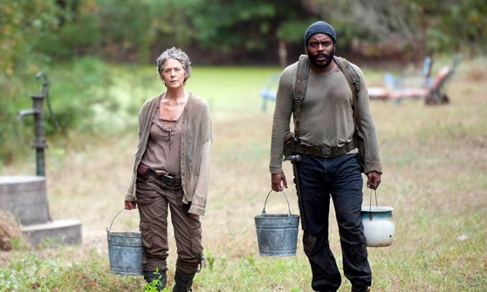 The Walking Dead season 5 trailer is out, but one part that isn't clear is how Carol, Tyreese, and baby Judith reunite with Rick and the larger group. Carol Peletier (Melissa McBride) and Tyreese (Chad L. Coleman) in Season 4, Episode 14. How will they reunite with the group in season 5? (Gene Page/AMC)