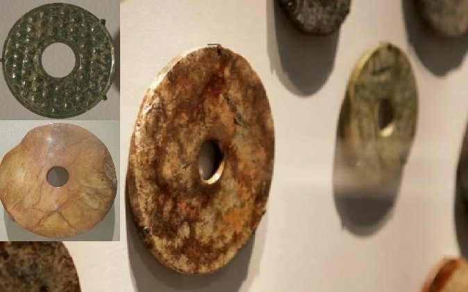 Main Image: Jade discs, from China, that resemble modern-day CD's or donuts, and date to the late Neolithic Period, Liangzhu culture (3300-2250 BC), on display at the Smithsonian's Freer and Sackler galleries in Washington, D.C. (Screenshot/National Geographic/YouTube); Left: Two Jade discs. (Hiart via wikimedia commons).
