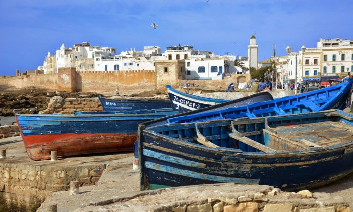 The boats and Essaouira in the background (Adventurous Travels)