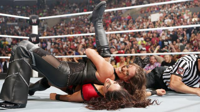 Stephanie McMahon wrestles Brie Bella at SummerSlam. (WWE)