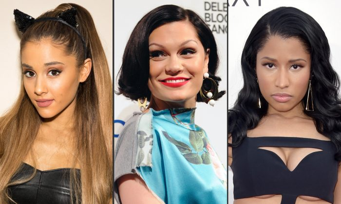 """This combo made from file photos shows, from left, Ariana Grande, Jessie J, and Nicki Minaj. The trio will kick off Sunday's MTV Video Music Awards with their new song """"""""Bang, Bang."""" (Photos by Omar Vega/Evan Agostini/John Shearer/Invision/AP, File)"""