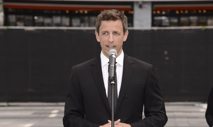 Host Seth Meyers speaks at the Television Academy's 66th Primetime Emmy Awards Press Preview Day and Red Carpet Rollout at Nokia Theater L.A. LIVE on Wednesday, Aug. 20, 2014 in Los Angeles. (Photo by Dan Steinberg/Invision for the Television Academy/AP Images)