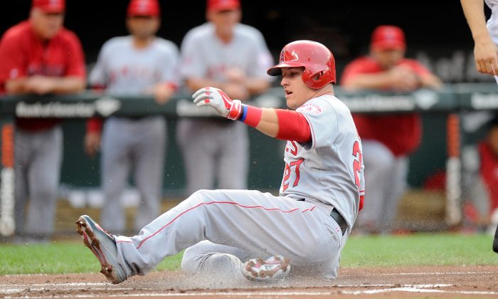 Mike Trout of the Los Angeles Angels on July 29. Trout is on pace for his first MVP award, after finishing runner-up to Miguel Cabrera each of the past two years. (Greg Fiume/Getty Images)