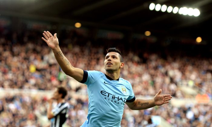 Sergio Aguero of Manchester City celebrates after scoring his team's second goal during the Barclays Premier League match between Newcastle United and Manchester City at St James' Park on August 17, 2014 in Newcastle upon Tyne, England. (Photo by Jamie McDonald/Getty Images)