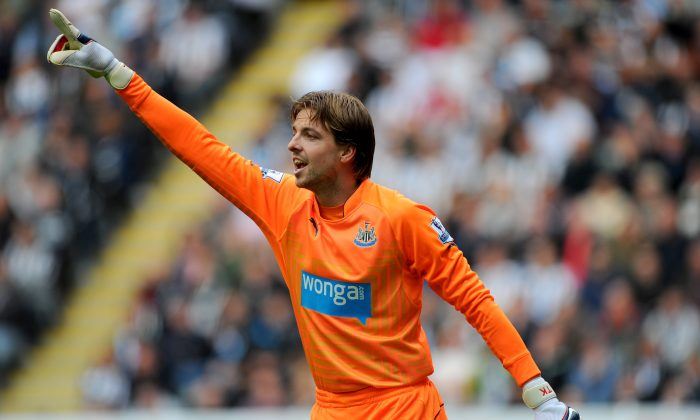 Newcastle goalkeeper Tim Krul in action during the Barclays Premier League match between Newcastle United and Manchester City at St James' Park on August 17, 2014 in Newcastle upon Tyne, England. (Photo by Stu Forster/Getty Images)