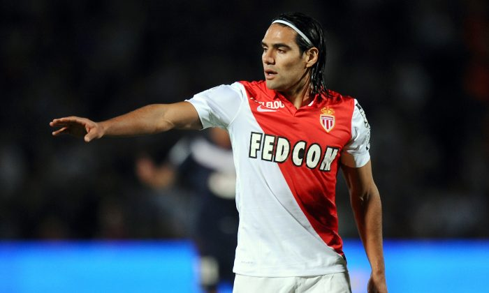 Monaco's Colombian forward Radamel Falcao gestures during the French L1 football match between Bordeaux (FCGB) and Monaco (ASMFC) on August 17, 2014 at the Chaban Delmas Stadium in Bordeaux. (NICOLAS TUCAT/AFP/Getty Images)
