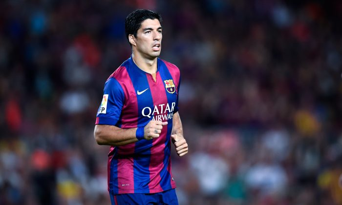 Luis Suarez of FC Barcelona looks on during the Joan Gamper Trophy match between FC Barcelona and Club Leon at Camp Nou on August 18, 2014 in Barcelona, Spain. (Photo by David Ramos/Getty Images)