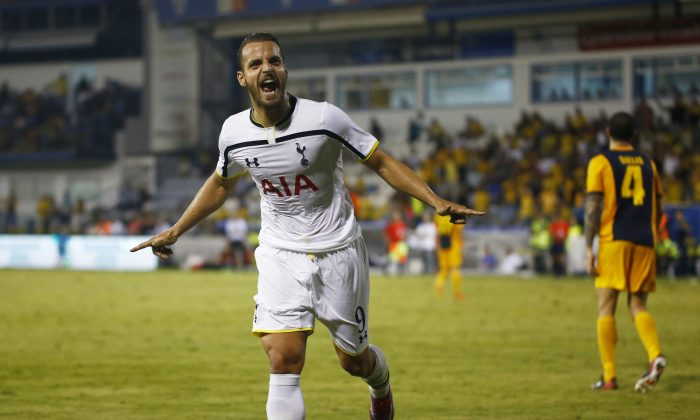 Roberto Soldado Rillo from Tottenham Hotspur celebrates scoring a goal during the AEL Limassol FC v Tottenham Hotspur - UEFA Europa League Qualifying Play-Off match on August 21, 2014 in Larnaca, Cyprus. (Photo by Andrew Caballero-Reynolds/Getty Images)