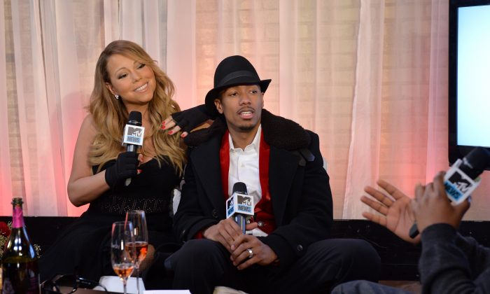 Singer Mariah Carey and Nick Cannon attend MTV First: Mariah Carey's 'You're Mine (Eternal)' music video world premiere at MTV Studios on February 12, 2014 in New York City. (Photo by Larry Busacca/Getty Images)