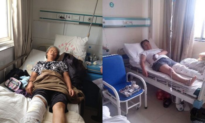 Left: 73 year-old Liu Daolan suffered violent attack on August 11 in Nanjing of Jiangsu Province after petitioned her grievance to the central inspection patrol, in a screenshot from 64tianwang.com. She suffers multiple fractures in the leg below the knee from the attack. Right: Liu Tonglin, who is over 60 years old, was violently attacked by two men after he appealed grievance to the central inspection team in Nanjing of Jiangsu Province on August 12, shown in a screenshot from 64tianwang.com. Liu suspects that the local authorities hired gangsters to attack him. (Epoch Times)