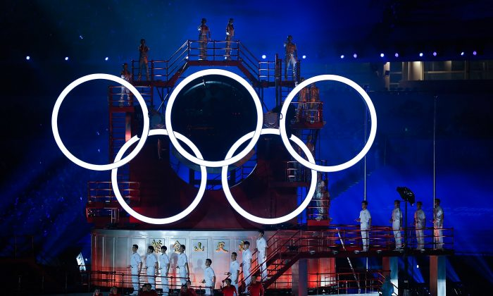 A general view of the Olympic Rings during the opening ceremony for the Nanjing 2014 Summer Youth Olympic Games on Aug. 16, in Nanjing, China. An online post about how the official who organized this event, and other officials who organized similar international events, have been fired for corruption went viral on the Chinese Internet. (Lintao Zhang/Getty Images)