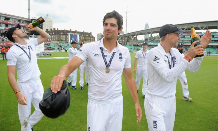 England captain Alastair Cook after winning the series trophy after winning the 5th Investec Test match between England and India at The Kia Oval on August 17, 2014 in London, England. (Photo by Gareth Copley/Getty Images)