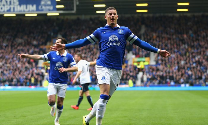 Ross Barkley of Everton celebrates scoring the opening goal during the Barclays Premier League match between Everton and Manchester City at Goodison Park on May 3, 2014 in Liverpool, England. (Photo by Clive Brunskill/Getty Images)