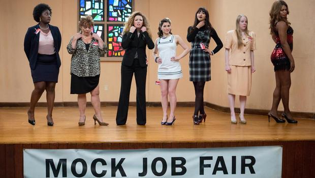 From left, Danielle Brooks, Lin Tucci, Natasha Lyonne, Yael Stone, Jackie Cruz, Emma Myles and Laverne Cox in a scene from season 2. (JoJo Whilden/Netflix)