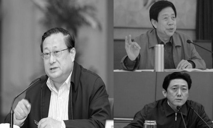 Three high officials in Shanxi Province were sacked on August 23 under China's anti-corruption campaign, including Nie Chunyu (L), Shanxi provincial party chief secretary, Chen Chuanping (R-bottom), capital Taiyuan City party secretary, and Liu Suiji (R-top), secretary of Taiyuan City Politics and Law Committee. (Screenshot/ifeng.com & 163.com)