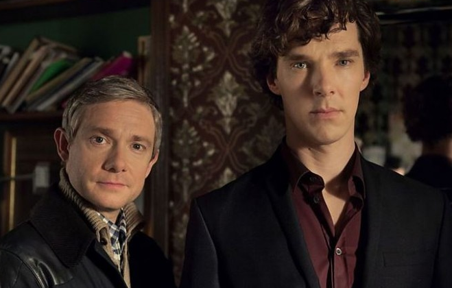 Martin Freeman and Benedict Cumberbatch. (BBC One)