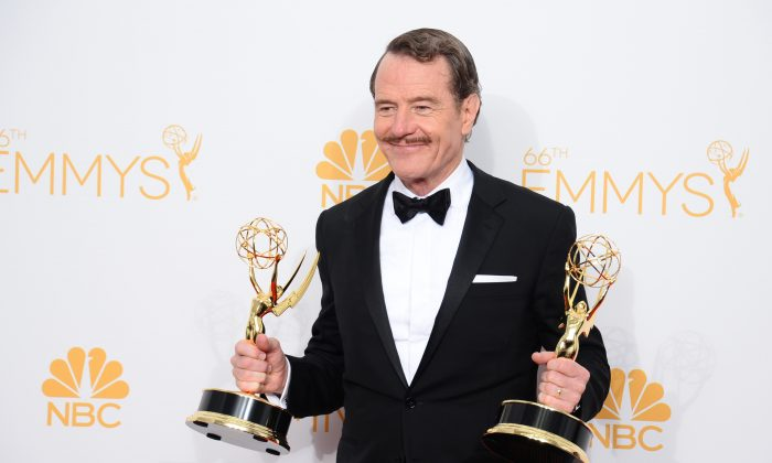 """Breaking Bad Season 6 is just a myth, and creator Vince Gilligan didn't say it would start shooting January 2015. Bryan Cranston, winner of the award for outstanding lead actor in a drama series for his work in """"Breaking Bad,"""" poses in the press room at the 66th Annual Primetime Emmy Awards at the Nokia Theatre L.A. Live on Monday, Aug. 25, 2014, in Los Angeles. (Photo by Jordan Strauss/Invision/AP)"""