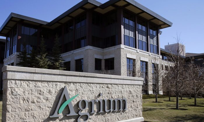 Agrium's headquarters is pictured in Calgary on May 7, 2014. The company has been very active in buying back its own stock over the past few years. (The Canadian Press/Larry MacDougal)