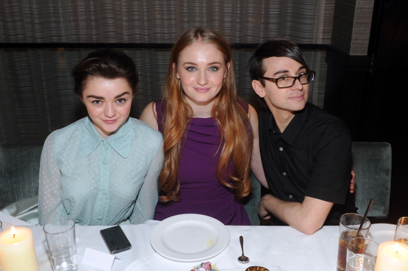 Actresses Maisie Williams, Sophie Turner and designer Christian Siriano attend Christian Siriano private dinner and after party during Mercedes-Benz Fashion Week Fall 2014 at KOI Soho on February 8, 2014 in New York City. (Photo by Jamie McCarthy/Getty Images for Christian Siriano)