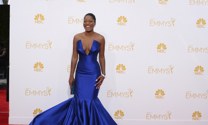 Keke Palmer arrives at the 66th Annual Primetime Emmy Awards at the Nokia Theatre L.A. Live in Los Angeles on Aug. 25, 2014. (Jordan Strauss/Invision/AP)