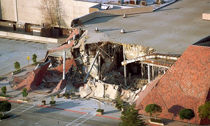 This Jan. 17, 1994 file photo shows a portion of a Bullock's department store that collapsed after the 6.7 magnitude Northridge earthquake. While the city of Los Angeles has made strides in retrofitting brick buildings, work remains to strengthen concrete buildings and housing with underground parking. (AP Photo/Reed Saxon)