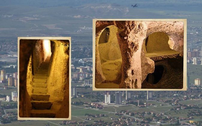 A newly-discovered underground structure in Kayseri province in Anatolia, Turkey, has been compared to Cappadocia (pictured) where hundreds of subterranean structures have been found. (Cappadocia images via Wikimedia Commons; Kayseri image credit: Anujak/iStock/Thinkstock)